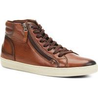 4d9be2853b Sapatênis Couro Shoestock Cano Alto Zíper Masculino - Masculino-Caramelo