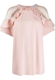 Red Valentino Tulle Insert Blouse - Rosa