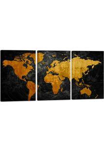 Quadro Mapa Mundi Efeito Riscos 60X120Cm Decoração Escritórios Salas Empresas - Oppen House