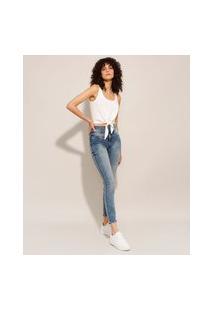 Calça Skinny Jeans Marmorizada Pull Up Cintura Super Alta Sawary Azul Médio