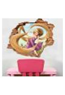 Adesivo De Parede Buraco Falso 3D Infantil Rapunzel 02 - Eg 100X122Cm
