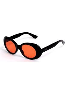 Óculos De Sol Oval - Feminino-Preto+Laranja