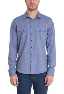 Camisa Timberland Cargo Cotton Chevron Masculina - Masculino-Azul