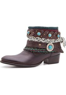 Bota Boho Chic Couro Charlotte Look Sioux Brown