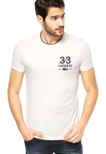 Camiseta Manga Curta Lacoste Emborrachada Off-White/Azul-Marinho