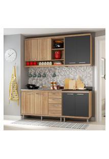 Cozinha Compacta Multimóveis 5818 Sicília 4 Peças Argila E Grafite