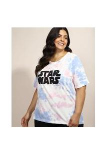 Blusa Feminina Plus Size Star Wars Estampada Tie Dye Manga Curta Decote Redondo Multicor