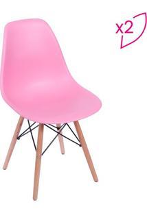 Jogo De Cadeiras Eames Dkr- Rosa & Bege- 2Pã§S- Oor Design