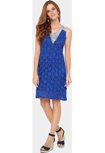 Vestido Maria Filó Curto Raglan - Feminino-Azul