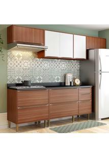 Cozinha Compacta Com Tampo 6 Peças 5456 Calábria - Multimóveis - Nogueira / Branco