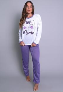 Pijamas Mvb Modas Longo Fechado Adulto Inverno Roxo. - Kanui