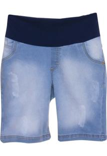 Bermuda Jeans Emma Fiorezi Com Pesponto Triplo - Feminino-Azul
