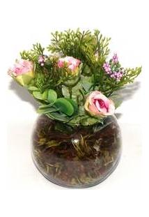 Vaso De Vidro Arranjo De Flores Artifical Rosa Pequeno Decorativo - Bruxelas