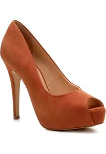 Peep Toe Couro Shoestock Meia Pata - Feminino-Marrom