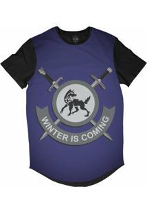 Camiseta Insane 10 Longline O Inverno Está Chegando Sublimada Preta Azul