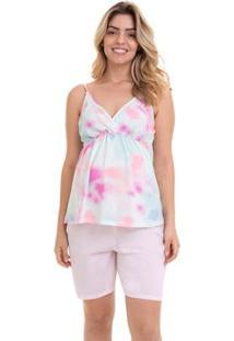 Pijama Bermudoll Maternidade Com Algodão Luna Cuore Feminino - Feminino-Rosa