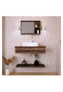 Conjunto Para Banheiro Bancada Com Cuba Q39 Quadrada, Prateleira E Espelheira City 806 Nogal
