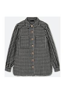 Camisa Manga Longa Em Tweed Xadrez Com Bolsos Frontais | A-Collection | Preto | G