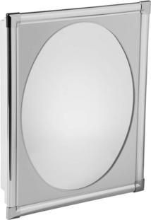 Armário Plástico Com Perfil De Alumínio Versátil Com Espelho 33Cmx38Cmx10Cm Al37 Astra Cinza