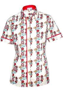 Camisa Pimenta Rosada Améllia Floral - Feminino-Bege+Vermelho