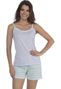 Pijama Alcinha E Short Doll Listrado De Verão Da Victory Feminino - Feminino-Verde Claro