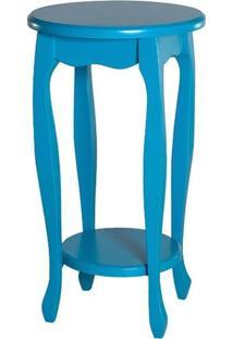 Mesa De Canto Status Com Prateleira Azul