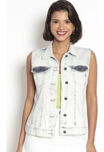 Colete Jeans Com Pespontos- Azul Claro- Doctdoct