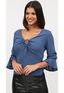 Blusa Lisa Com Amarraã§Ã£O - Azul - Tritontriton