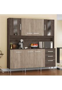 Cozinha Compacta 8 Portas 2 De Vidro 2 Gavetas Atuale Siena Móveis