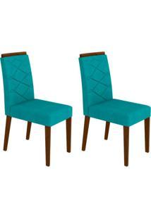 Conjunto Com 2 Cadeiras Caroline Castanho E Turquesa