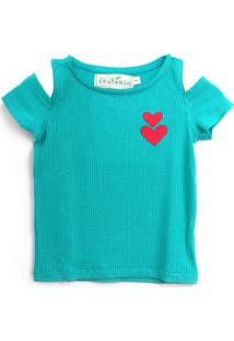 Blusa Fruteria Menina Coração Verde