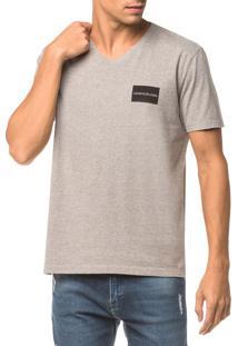 Camiseta Ckj Mc Estampa Quadrado Peito - Mescla - Pp