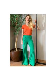 Calça Pantalona Amazonia Vital Transpassada Malha Madrid Verde Light