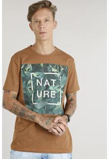 """Camiseta Masculina """"Nature"""" Manga Curta Gola Careca Caramelo"""
