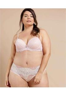 Calcinha Feminina Alta Renda Plus Size Demillus - Feminino