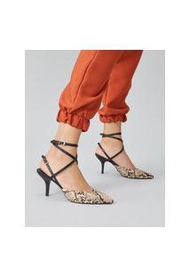 Amaro Feminino Scarpin Slingback Multi Tiras, Cobra Light Tan