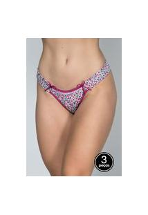 Kit 3 Calcinha Tanga Juliana Bella Fiore Modas Multicolorida