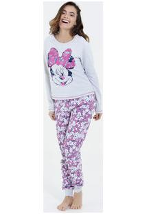 Pijama Feminino Manga Longa Estampa Minnie Disney