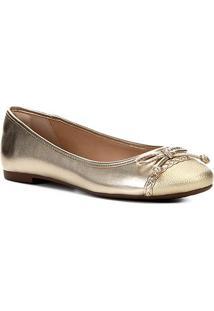 Sapatilha Shoestock Laço Trança Feminina - Feminino-Dourado