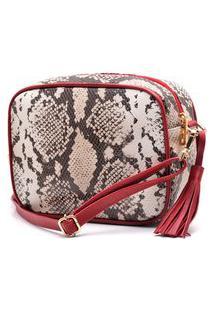 Bolsa De Couro Hendy Bag Quadrada Cobra Branca Com Vermelho
