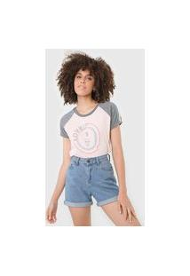 Camiseta Tricats Raglan Lovely Rosa/Cinza