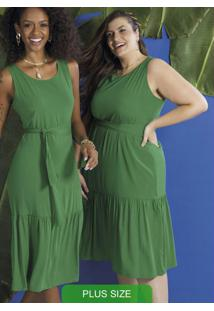Vestido Feminino Midi Sem Manga Verde