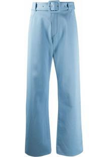 Courrèges Calça Pantalona Com Cinto - Azul