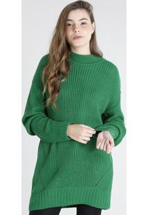 Blusão Em Tricô Feminino Mindset Longo Verde