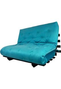 Sofa Cama Casal Futon Oriental Azul Turquesa Com Madeira Maciça Nobre