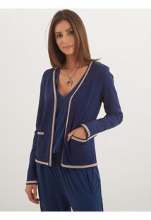 Casaco Le Lis Blanc Vivian Curto Ii Tricot Azul Marinho Feminino (Marine, Pp)