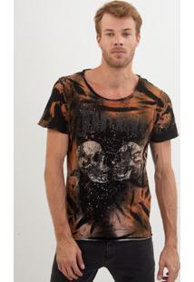 Camiseta John John Rx Split Skulls Malha Cinza Masculina Tshirt Rx Split Skulls-Chumbo-M