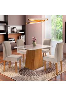 Conjunto De Mesa De Jantar Sevilha Com Vidro E 4 Cadeiras Classic L Linho Off White E Bege