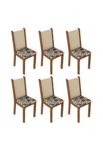 Kit 6 Cadeiras 4291 Madesa - Rustic/Crema/Hibiscos Marrom