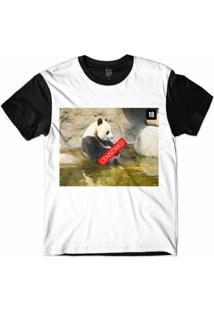 Camiseta Lf Panda Censored Sublimada Masculina - Masculino-Branco